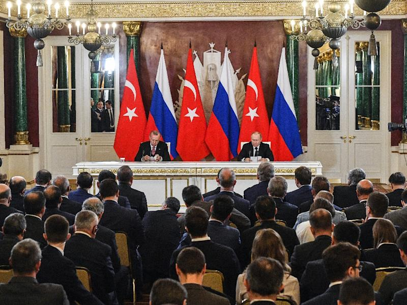 Russian President Vladimir Putin and Turkish President Recep Tayyip Erdogan meet in Moscow in April 2019