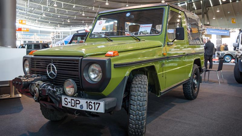A 1979 Mercedes-Benz 240 GD Convertible.