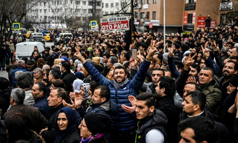 People gathered outside Bakirkoy courthouse in Istanbul to support Selahattin Demirtas, the jailed co-chair of the Peoples' Democratic Party (HDP)