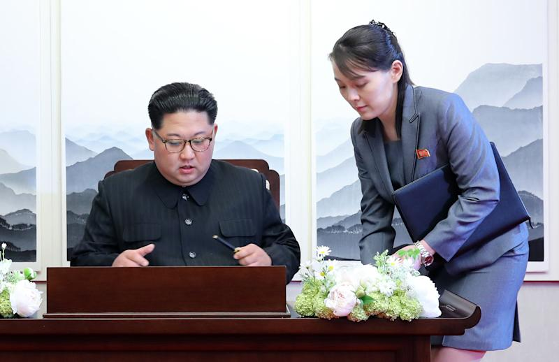 Kim Jong Un and his sister Kim Yo Jong during the inter-Korean summit at the Peace House inside the truce village of Panmunjom in the Demilitarized Zone (DMZ) in Paju South Korea in 2018. (Inter-Korean Summit Press Corps/Pool via Bloomberg via Getty Images)