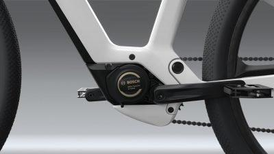 Close-up view of eBike Design Vision's one-of-a-kind braking system.