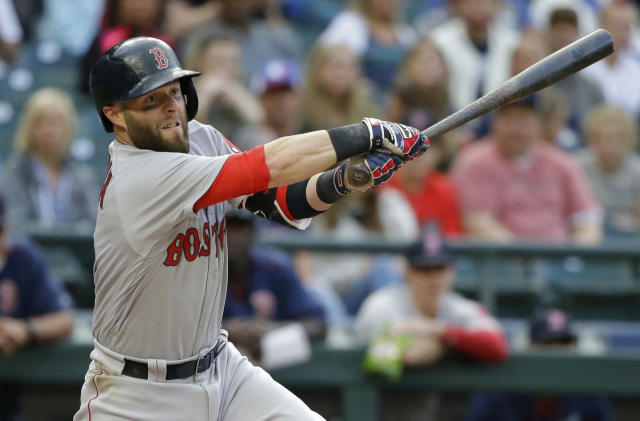 FILE - In this Aug. 2, 2016, file photo, Boston Red Sox's Dustin Pedroia takes a swing during a baseball game against the Seattle Mariners in Seattle. Pedroia is using a bat made by Axe Bat, a company headquartered in Renton, Wash., that is trying to revolutionize baseball with a simple concept -- a bat handle that is shaped like the handle of an axe. (AP Photo/Ted S. Warren, file)