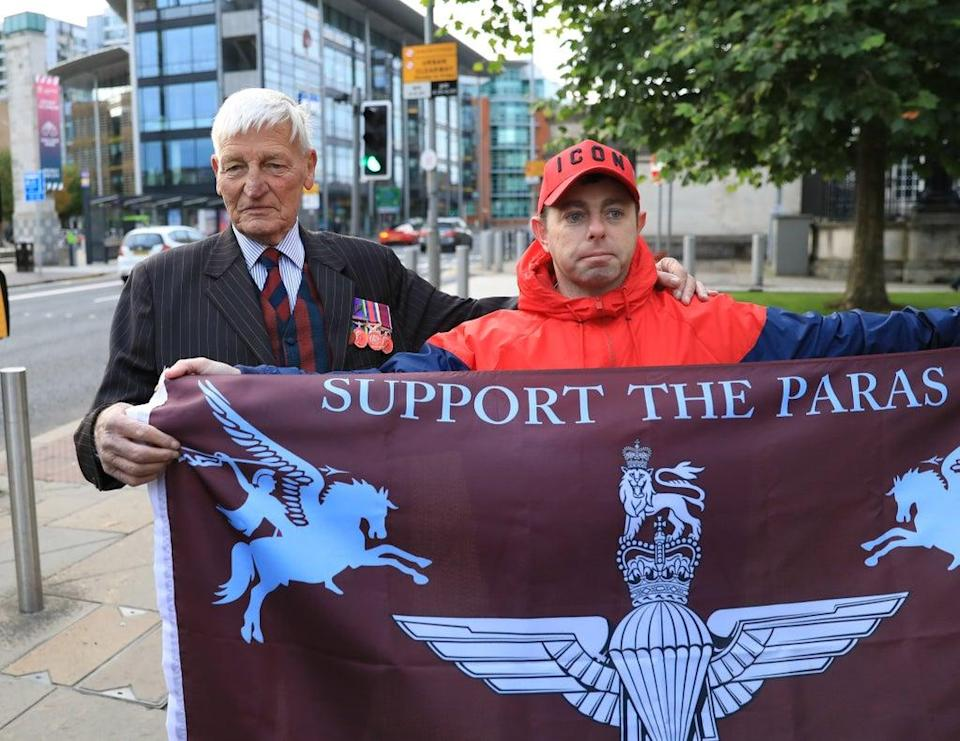 Dennis Hutchings, 80, with supporters as he arrives at Laganside Courts in Belfast (Peter Morrison/PA) (PA Wire)