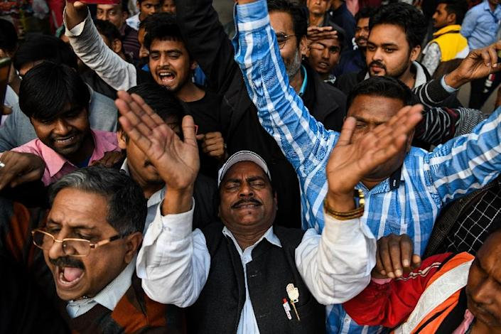 In New Delhi the announcement of the experienced pilot's release was seen as a diplomatic victory (AFP Photo/CHANDAN KHANNA)