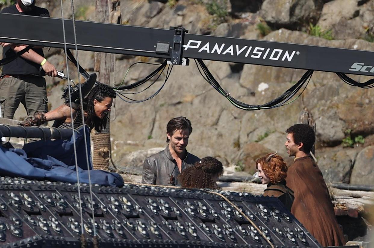 Michelle Rodriguez, Chris Pine and Justice Smith filming Dungeons and Dragons (Liam McBurney/PA)