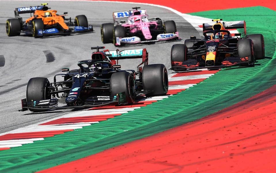 Mercedes driver Lewis Hamilton of Britain steers his car followed by Red Bull driver Alexander Albon of Thailand during the Austrian Formula One Grand Prix at the Red Bull Ring racetrack in Spielberg, Austria, Sunday, July 5, 2020 - Austria F1 GP Auto Racing