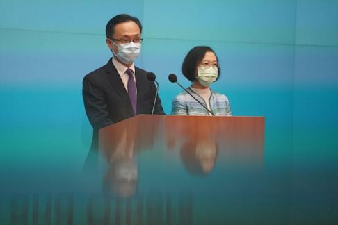 Hong Kong ministers Patrick Nip and Sophia Chan defended the mass screening programme during a press conference on Friday. Photo: Winson Wong