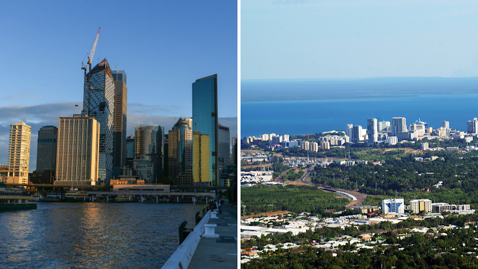 Australian house prices are rising at breakneck speed – but this won't last forever. Left: Sydney; right: Darwin. (Source: Getty)