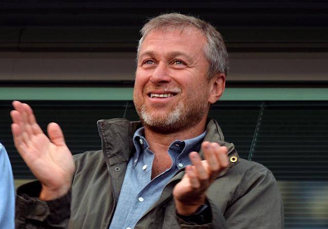 "FILE PHOTO: Chelsea owner Roman Abramovich applauds after the English Premier League soccer match between Chelsea and Hull City at Stamford Bridge in London August 18, 2013. REUTERS/Toby Melville/File photo NO USE WITH UNAUTHORIZED AUDIO, VIDEO, DATA, FIXTURE LISTS, CLUB/LEAGUE LOGOS OR ""LIVE"" SERVICES. ONLINE IN-MATCH USE LIMITED TO 45 IMAGES, NO VIDEO EMULATION. NO USE IN BETTING, GAMES OR SINGLE CLUB/LEAGUE/PLAYER PUBLICATIONS. NOT FOR SALE FOR MARKETING OR ADVERTISING CAMPAIGNS"