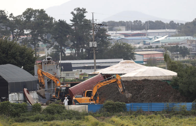 FILE - In this Sept. 17, 2019, file photo, backhoes prepare to dig a pit to bury culled pigs at a farm in Paju, South Korea. South Korea on Tuesday, Oct. 15, is deploying snipers, installing traps and flying drones along the rivals' tense border to kill wild boars that some experts say may have spread the animal disease from north to south. (AP Photo/Ahn Young-joon, File)