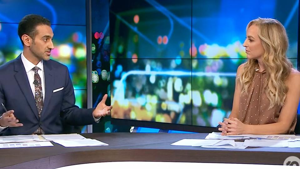 The Project hosts Waleed Aly and Carrie Bickmore discuss social distancing on set