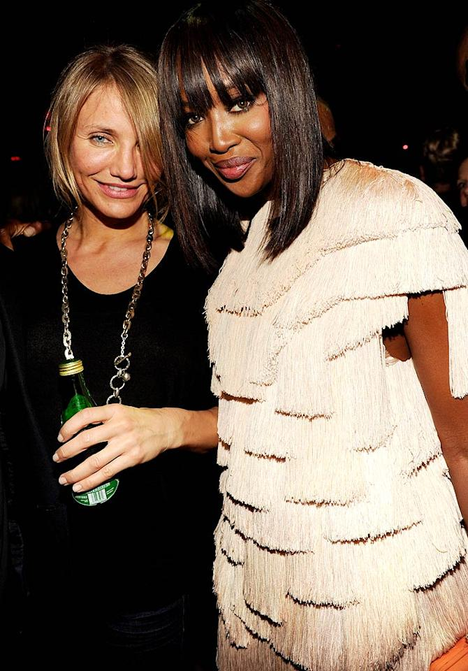 """Cameron Diaz and Naomi Campbell popped a pose Tuesday night at SiriusXM's reopening of the legendary Studio 54 in NYC for """"One Night Only.""""  (October 18, 2011)"""