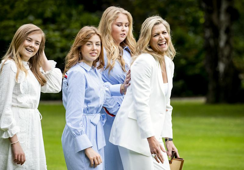 Netherland's Queen Maxima, Princess Amalia, Princess Alexia and Princess Ariane pose in the garden of Paleis Huis ten Bosch, The Hague on July 17, 2020, during the traditional photo session at the start of the summer holiday. (Photo by Sem VAN DER WAL / ANP / AFP) / Netherlands OUT (Photo by SEM VAN DER WAL/ANP/AFP via Getty Images)