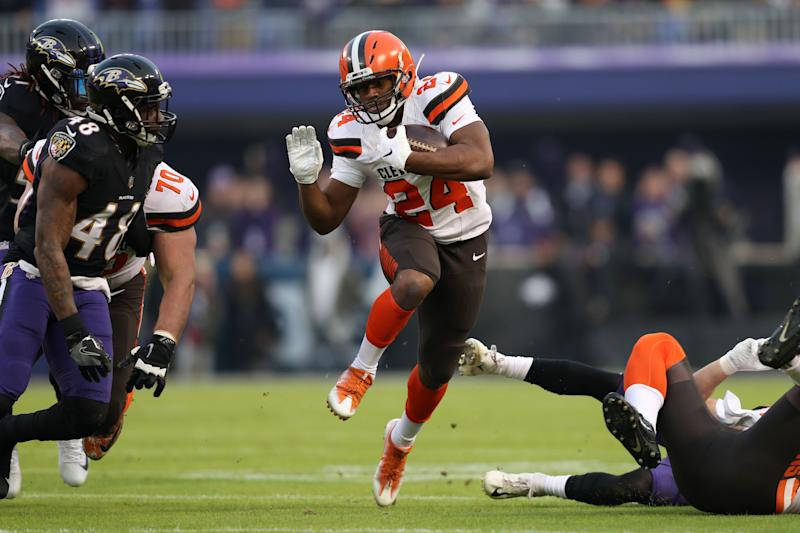 browns rb nick chubb loses 1 000 yard season vs browns