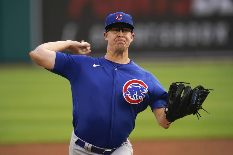 Chicago Cubs pitcher Alec Mills throws against the Detroit Tigers in the first inning of a baseball game in Detroit, Monday, Aug. 24, 2020. (AP Photo/Paul Sancya)