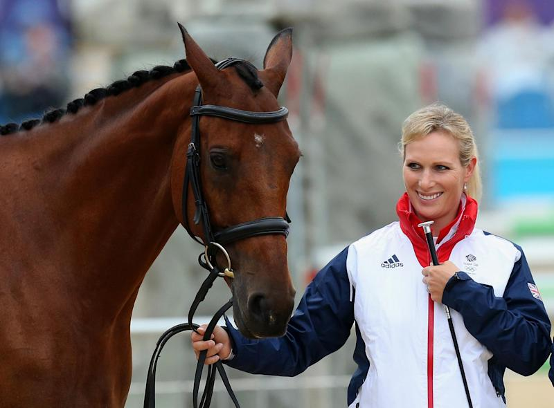 Zara Tindall with her horse, High Kingdom, during the Horse Inspection before the Team Eventing Jumping Final at the London Olympic Games. (PA Images)