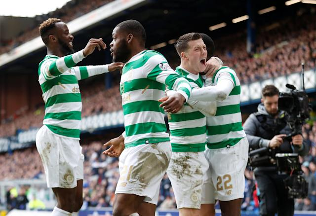 Soccer Football - Scottish Premiership - Rangers vs Celtic - Ibrox, Glasgow, Britain - March 11, 2018 Celtic's Odsonne Edouard celebrates scoring their third goal with team mates REUTERS/Russell Cheyne