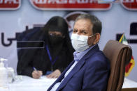 Iranian Vice-President Eshaq Jahangiri registers his name as a candidate for the June 18 presidential elections at the interior Ministry in Tehran, Iran, Saturday, May 15, 2021. (AP Photo/Ebrahim Noroozi)