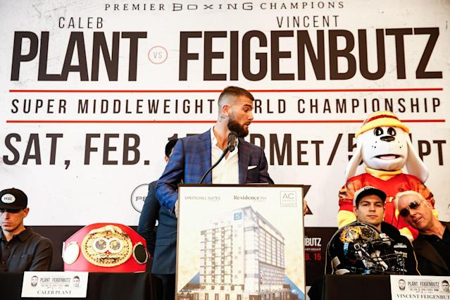 IBF super middleweight world champion Caleb Plant turns to opponent Vincent Feibenbutz during a news conference to promote their title fight on Saturday in Nashville, Tennessee. (Stephanie Trapp/TGB Promotions)
