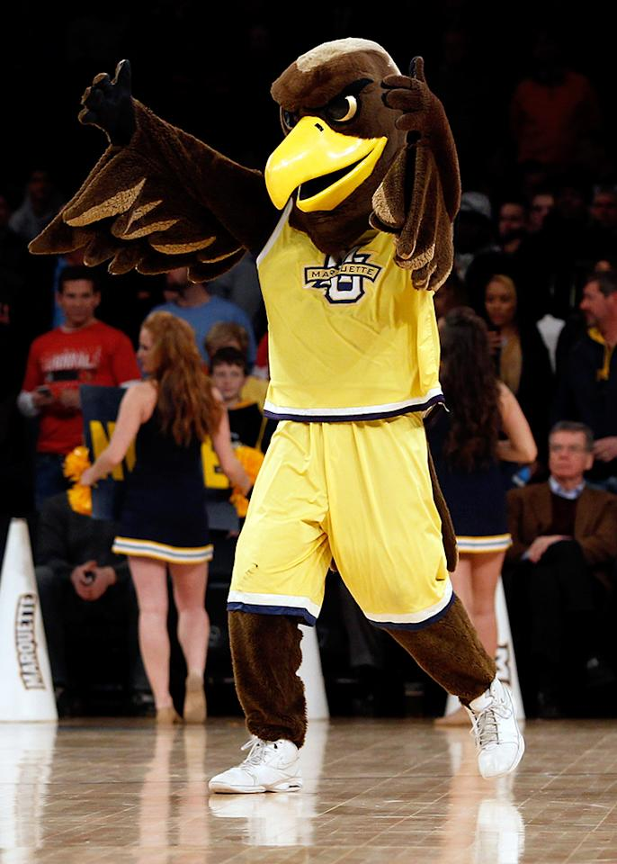 The mascot for the Marquette Golden Eagles performs against the Notre Dame Fighting Irish during the quaterfinals of the Big East Men's Basketball Tournament at Madison Square Garden on March 14, 2013 in New York City.  (Photo by Chris Chambers/Getty Images)