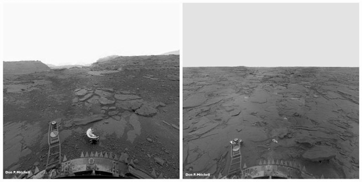 "<span class=""caption"">The surface of Venus as seen in these reprocessed perspective image panoramas from the Soviet Venera 13 lander.</span> <span class=""attribution""><a class=""link rapid-noclick-resp"" href=""http://mentallandscape.com/C_Venera_Perspective.jpg"" rel=""nofollow noopener"" target=""_blank"" data-ylk=""slk:Don P. Mitchell"">Don P. Mitchell</a>, <a class=""link rapid-noclick-resp"" href=""http://creativecommons.org/licenses/by-sa/4.0/"" rel=""nofollow noopener"" target=""_blank"" data-ylk=""slk:CC BY-SA"">CC BY-SA</a></span>"
