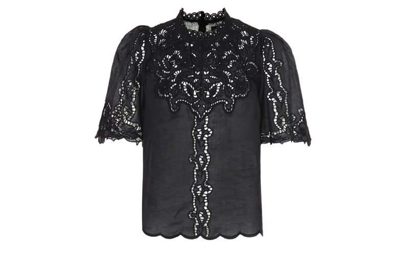 The presenter wore Isabel Marant's £475 'Mumba' broderie anglaise top [Photo: Courtesy]
