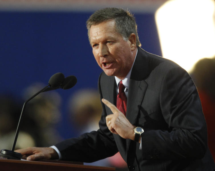 Ohio Governor John Kasich speaks to delegates during the Republican National Convention in Tampa, Fla., on Tuesday, Aug. 28, 2012. (AP Photo/Lynne Sladky)