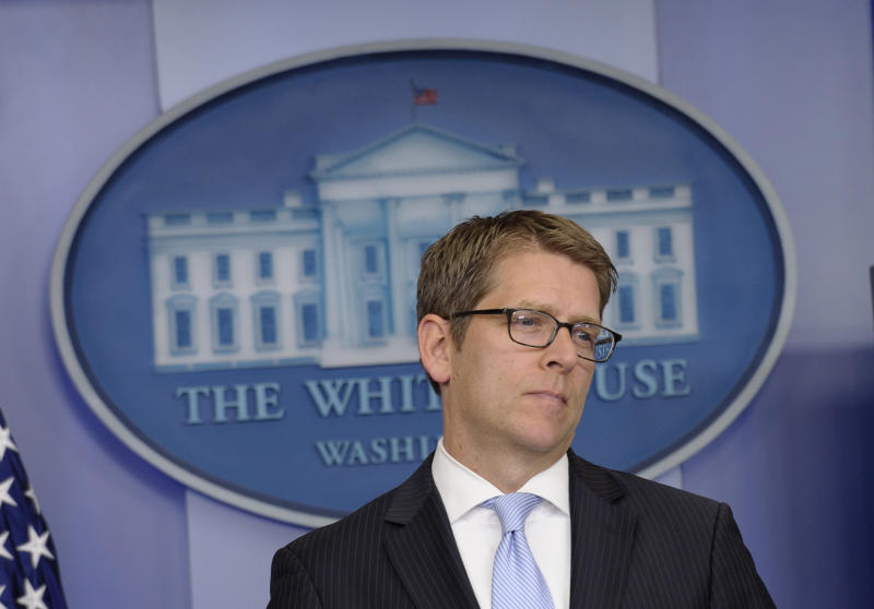 White House Press Secretary Jay Carney listens to a question during the daily briefing at the White House in Washington, Monday, July 15, 2013. Carney says it would be inappropriate for President Obama to express an opinion on how the Justice Department deals with Zimmerman after the neighborhood watch volunteer's acquittal in the shooting of the unarmed 17-year-old last year. (AP Photo/Susan Walsh)