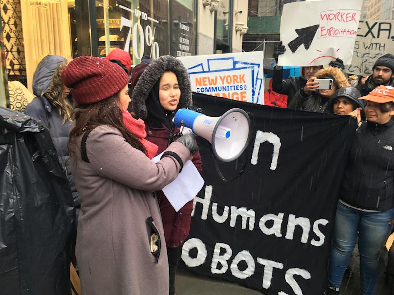 Hiba Aly, 20, a former worker at an Amazon warehouse in Staten Island, New York who addressed the crowd at a protest in Manhattan on Monday.