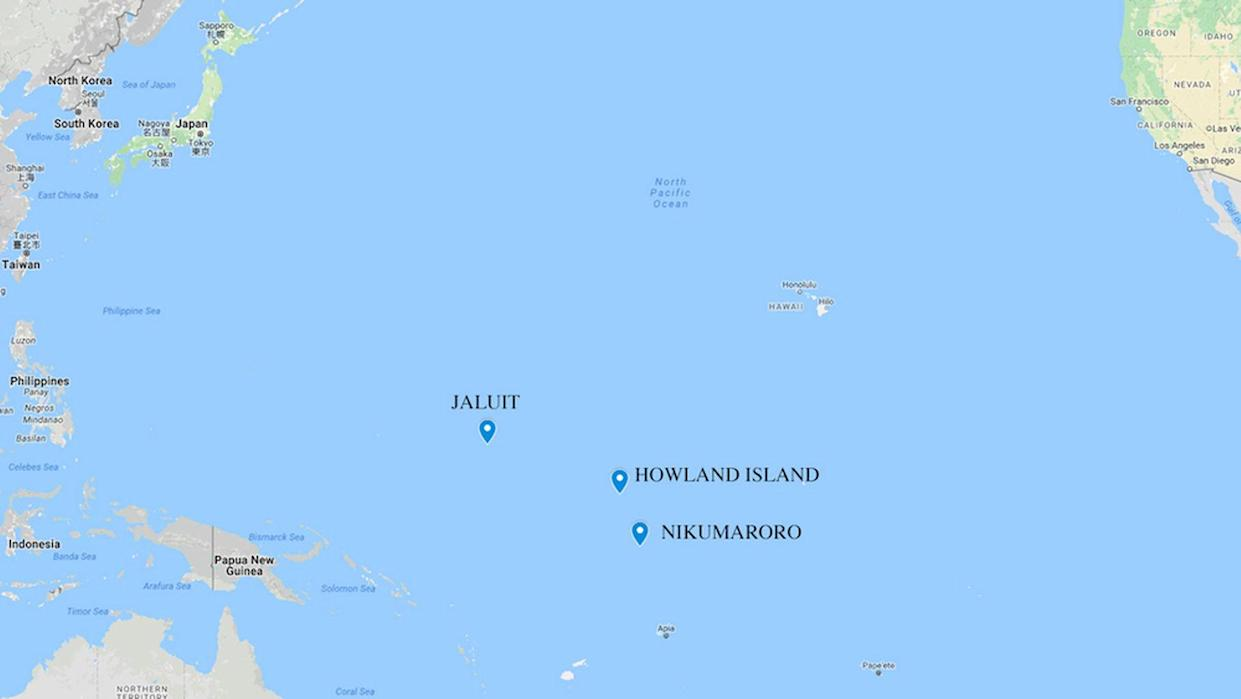 The distance between Jaluit Atoll, where the photo was taken, and Howland Island, where Amelia Earhart was supposed to land. Some researchers suspect that Earhart landed on Nikumaroro. <cite>Google Maps</cite>