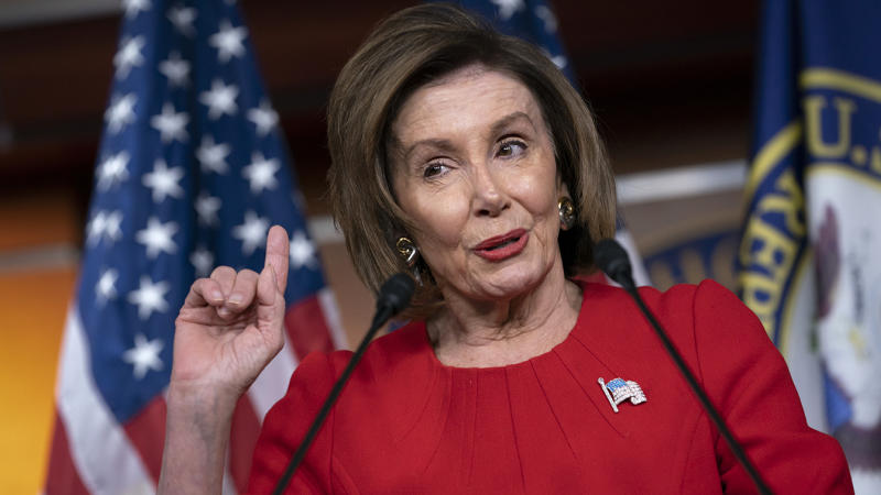 House Speaker Nancy Pelosi, D-Calif., talks to reporters on Capitol Hill in Washington, D.C., Thursday. (AP Photo/J. Scott Applewhite)