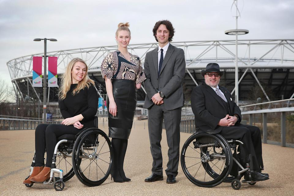 (Left to right) Parallel London ambassadors, paraplegic television personality Sophie Morgan, model Kelly Knox, 12th Earl of Shaftesbury Nick Ashley-Cooper and Tony Heaton, Chief Executive at Shape. (PA)