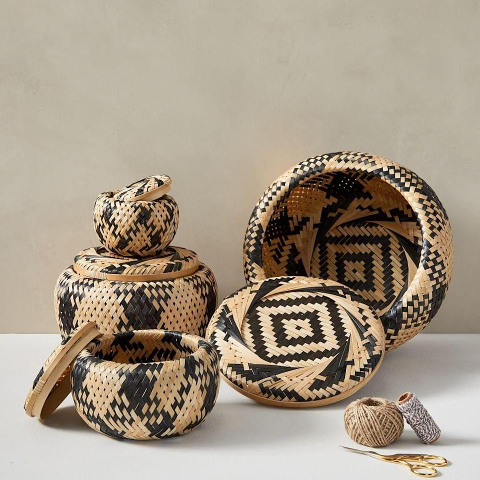 <p>These <span>Bamboo Nesting Lidded Baskets</span> ($40 for a set of four) are a unique addition to any space.</p>