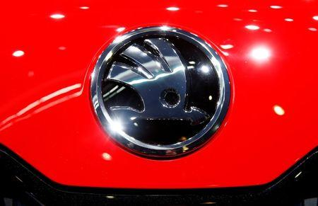The logo of Skoda is seen during the 87th International Motor Show at Palexpo in Geneva
