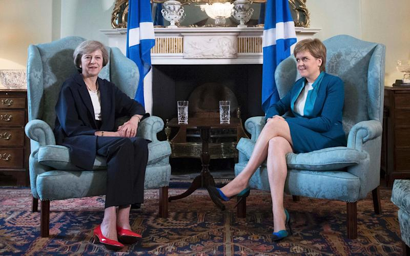 New British Prime Minister Theresa May meeting First Minister of Scotland, Nicola Sturgeon at Bute House in Edinburgh, Scotland, July 15, 2016. - POOL