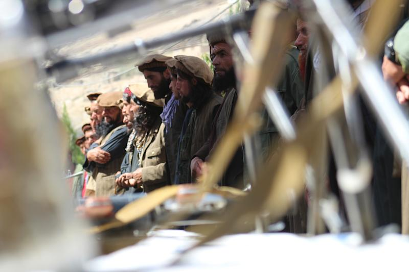 A group of Taliban in Badakhshan province have dropped weapons and joined the Afghan government.They join the government after US-Taliban peace talks have been halted on 18 September 2019 in Badakhshan, Afghanistan. (Photo by Mohammad Sharif Shayeq/NurPhoto via Getty Images)