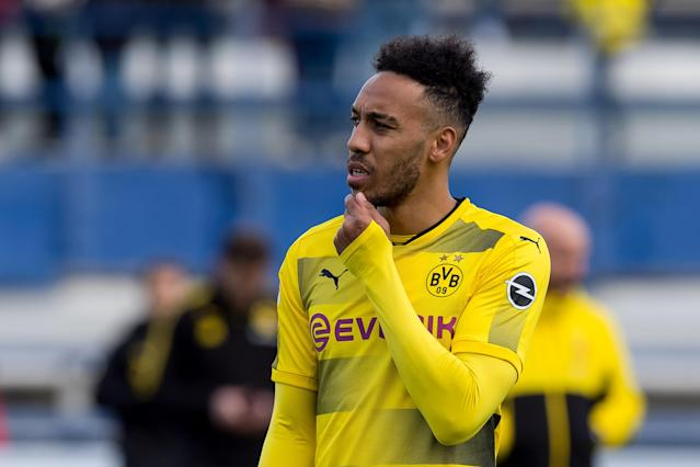 "<a class=""link rapid-noclick-resp"" href=""/soccer/players/pierre-emerick-aubameyang/"" data-ylk=""slk:Pierre-Emerick Aubameyang"">Pierre-Emerick Aubameyang</a> during a recent match for <a class=""link rapid-noclick-resp"" href=""/soccer/teams/borussia-dortmund/"" data-ylk=""slk:Borussia Dortmund"">Borussia Dortmund</a>. (Getty)"