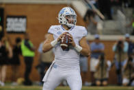 North Carolina quarterback Sam Howell looks to pass against Wake Forest during the first half of an NCAA college football game in Winston-Salem, N.C., Friday, Sept. 13, 2019. (AP Photo/Nell Redmond)