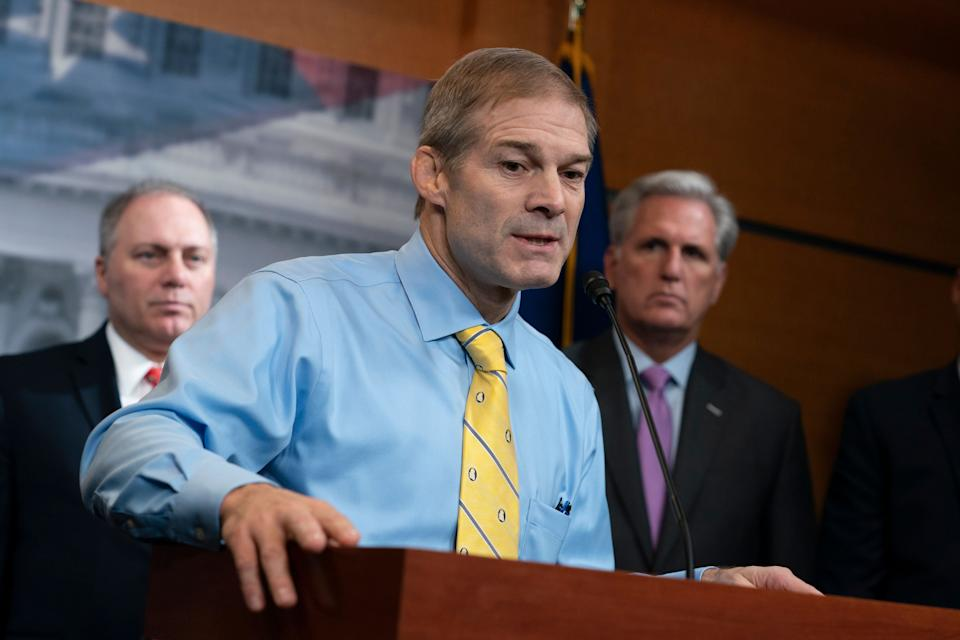 Rep. Jim Jordan (R-Ohio) led Republican arguments Wednesday against Trump's second impeachment in the House. The article of impeachment passed, however, with 10 Republicans joining Democrats in the 232-197 vote. (Photo: J. Scott Applewhite/ASSOCIATED PRESS)