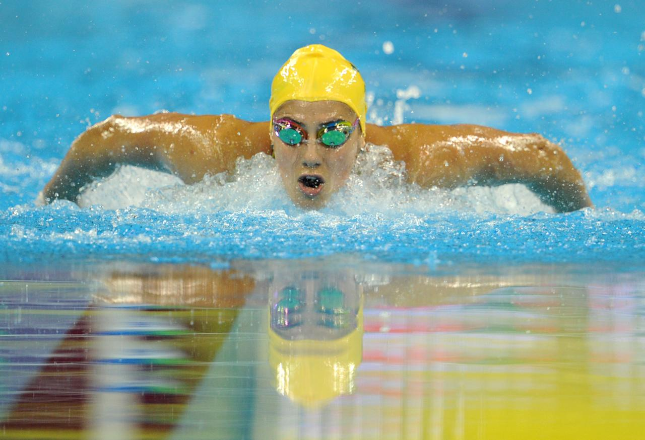 Australia's Stephanie Rice competes in the final of the women's 200-metre individual medley swimming event in the FINA World Championships at the indoor stadium of the Oriental Sports Center in Shanghai on July 25, 2011. AFP PHOTO / MARK RALSTON (Photo credit should read MARK RALSTON/AFP/Getty Images)