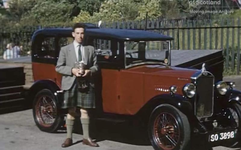 Bert Davidson after winning his class in the 1959 Kildrummy Rally. - National Library of Scotland