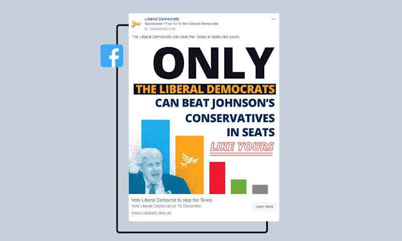 Liberal Democrat campaign ad on Facebook