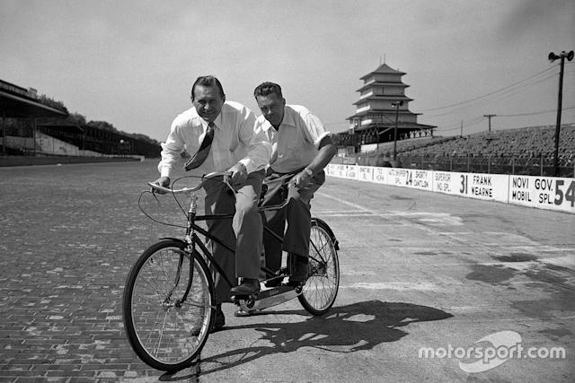 """Poor Ted is apparently destined to finish behind someone yet again… Here he shares a tandem with the great Wilbur Shaw, three-time Indy 500 winner and the man who helped revive the Speedway after WWII. <span class=""""copyright"""">IMS Photos</span>"""