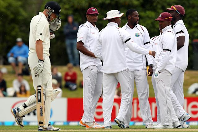 DUNEDIN, NEW ZEALAND - DECEMBER 07: Peter Fulton of New Zealand departs after being dismissed by Shane Shillingford during day five of the first test match between New Zealand and the West Indies at University Oval on December 7, 2013 in Dunedin, New Zealand. (Photo by Rob Jefferies/Getty Images)