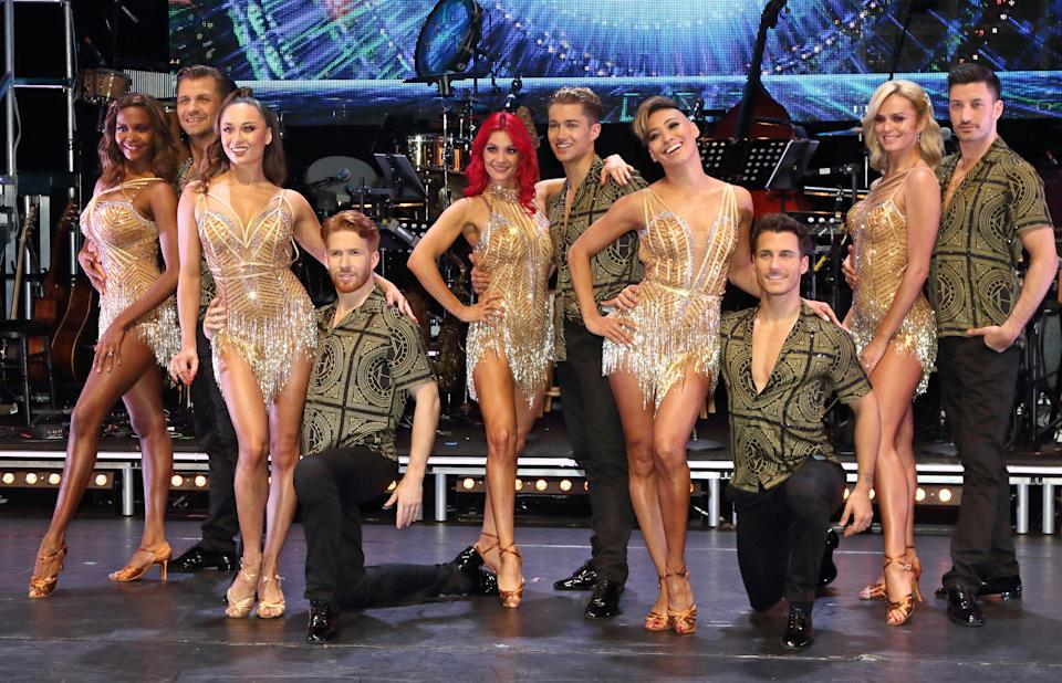 Dianne Buswell, Nadiya Bychkova, Karen Clifton, Katya Jones, Neil Jones, Pasha Kovalev, Oti Mabuse, Gorka Marquez, Giovanni Pernice and AJ Pritchard seen at the Strictly Come Dancing. The Professionals UK Tour 2019 - Photocall at Elstree Studios. (Photo by Keith Mayhew / SOPA Images/Sipa USA)