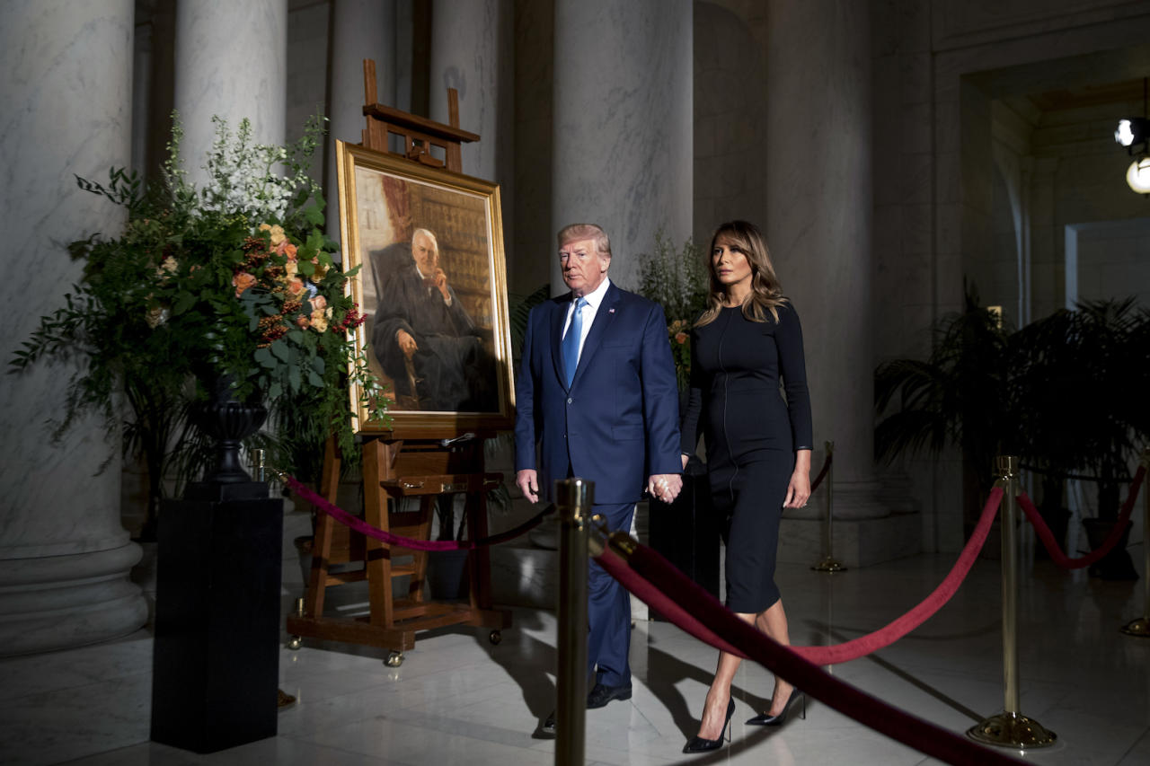 Melania Trump paid her respects to the late Supreme Court Justice John Paul Stevens in a simple black dress with her go-to £582 Manolo Blahnik shoes to finish. [Photo: Getty]