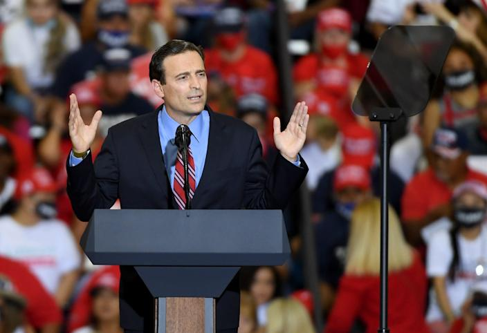 Adam Laxalt speaks at a campaign event for President Donald Trump at Xtreme Manufacturing on September 13, 2020 in Henderson, Nevada.