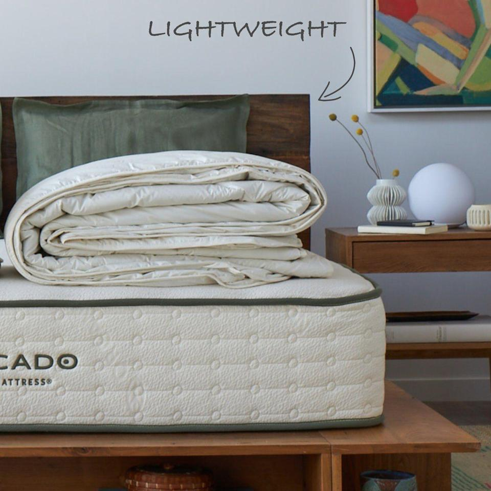 """<p><strong>Avocado Green</strong></p><p>avocadogreenmattress.com</p><p><strong>$499.00</strong></p><p><a href=""""https://go.redirectingat.com?id=74968X1596630&url=https%3A%2F%2Fwww.avocadogreenmattress.com%2Fproducts%2Falpaca-duvet-insert&sref=https%3A%2F%2Fwww.goodhousekeeping.com%2Fhome-products%2Fcomforter-reviews%2Fg27531976%2Fbest-cooling-comforters%2F"""" rel=""""nofollow noopener"""" target=""""_blank"""" data-ylk=""""slk:Shop Now"""" class=""""link rapid-noclick-resp"""">Shop Now</a></p><p>As a brand, Avocado Green is popular for its commitment to sustainability and transparency. Our pros are impressed with the high quality materials and construction of this lightweight duvet insert. The <strong>cover is made with GOTs certified organic percale weave cotton</strong> for increased breathability. For a cooler sleep, go with the lightweight option filled with alpaca fiber known for its excellent temperature regulating properties. </p>"""