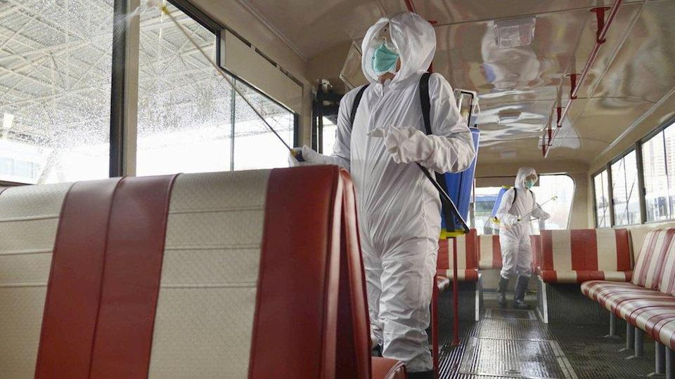 A trolley bus is disinfected amid fears over the spread of the novel coronavirus in Pyongyang, North Korea, in this photo taken on February 22, 2020