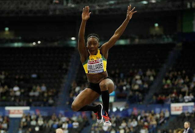 Athletics - British Indoor Championships - Arena Birmingham, Birmingham, Britain - February 18, 2018 Jamaica's Kimberly Williams in action during the women's triple jump Action Images via Reuters/Andrew Boyers